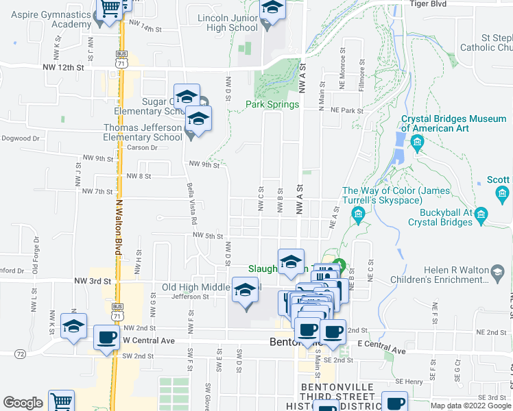 map of restaurants, bars, coffee shops, grocery stores, and more near 603 Northwest C Street in Bentonville