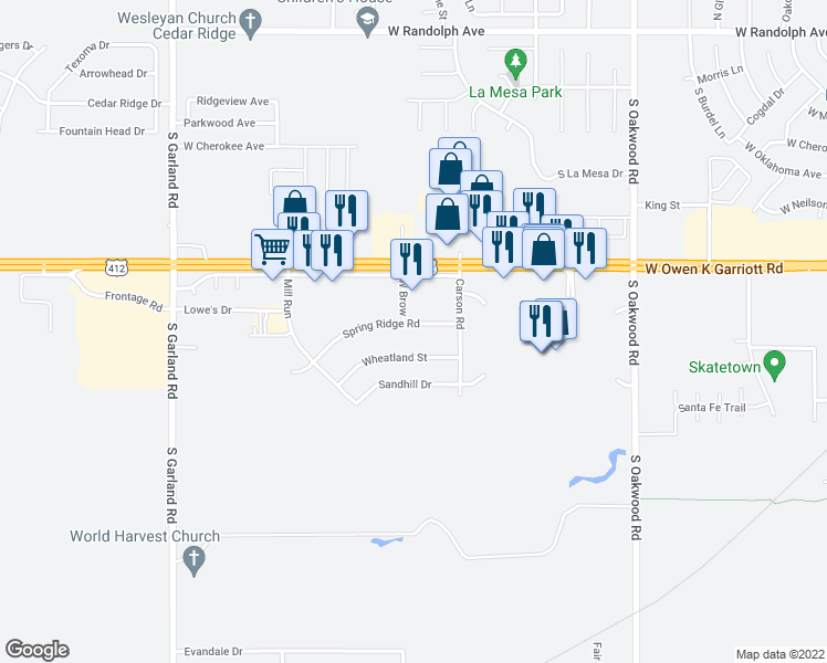 map of restaurants, bars, coffee shops, grocery stores, and more near 4511 Spring Ridge Road in Enid