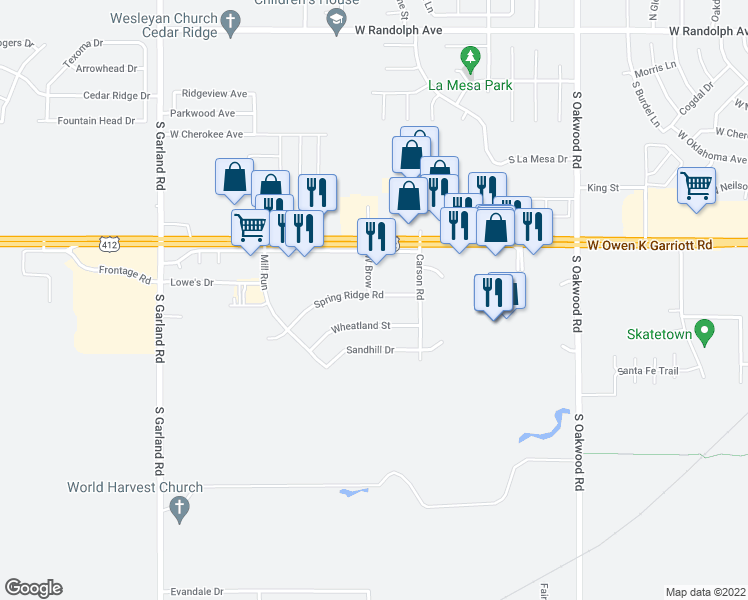 map of restaurants, bars, coffee shops, grocery stores, and more near 4517 Spring Ridge Road in Enid