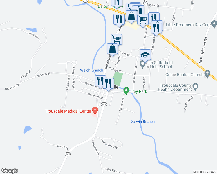 map of restaurants, bars, coffee shops, grocery stores, and more near 200 West Main Street in Hartsville