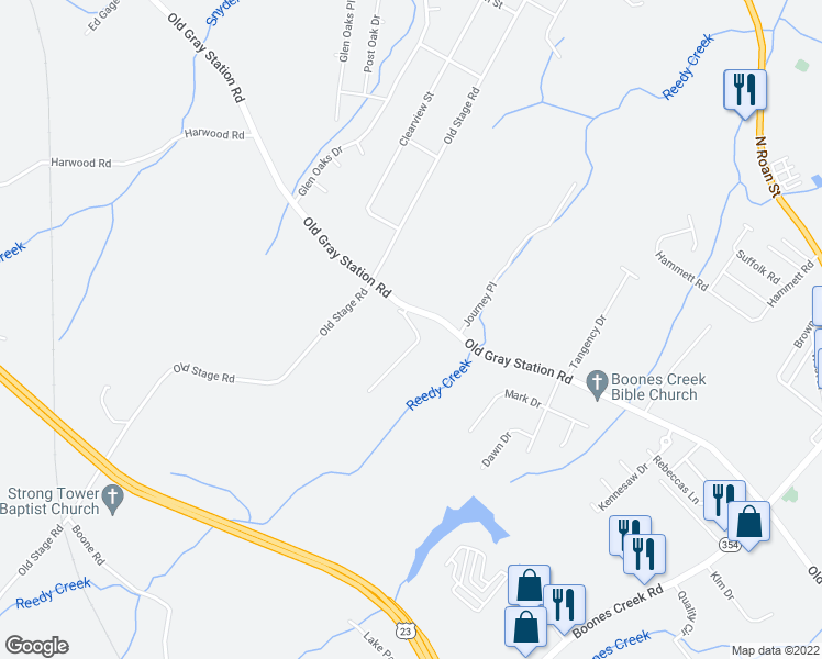 map of restaurants, bars, coffee shops, grocery stores, and more near 536 Grays Pointe Court in Johnson City