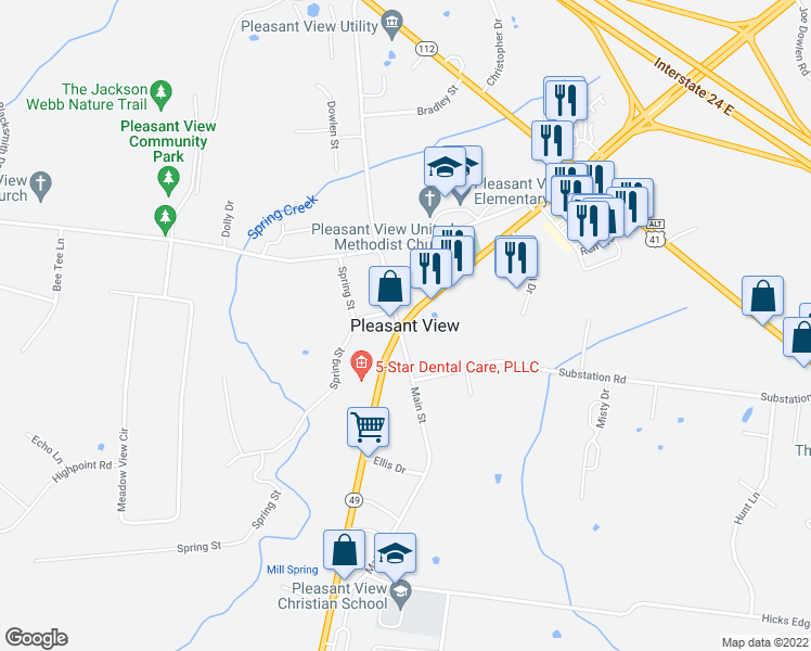 map of restaurants, bars, coffee shops, grocery stores, and more near in Pleasant View
