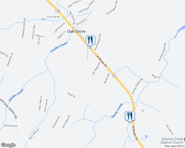map of restaurants, bars, coffee shops, grocery stores, and more near 2 Cora Lane in Johnson City