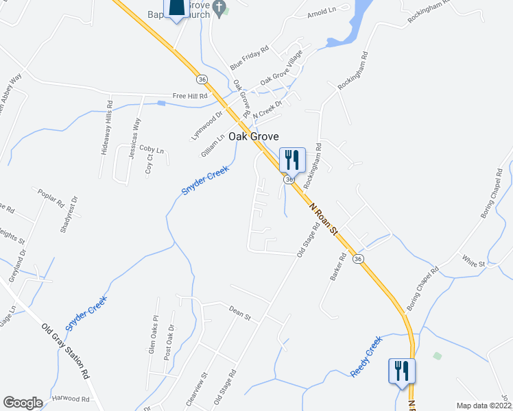 map of restaurants, bars, coffee shops, grocery stores, and more near 184 Cora Lane in Johnson City