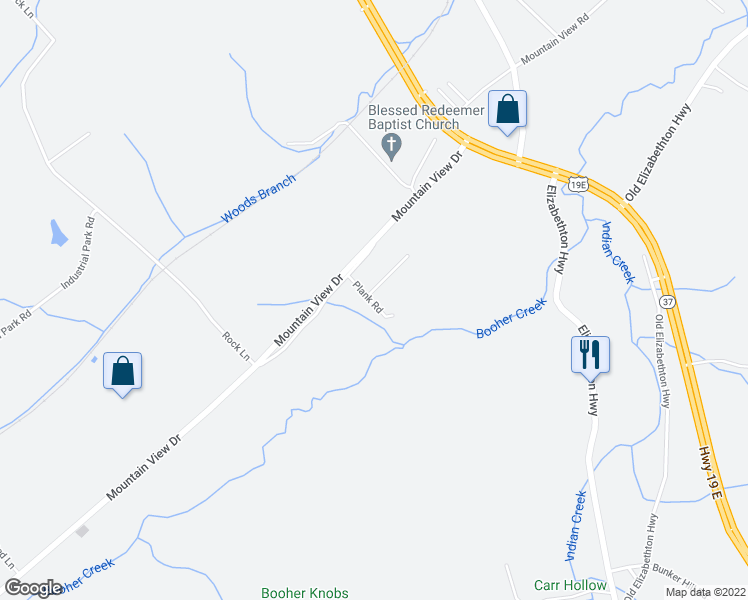 map of restaurants, bars, coffee shops, grocery stores, and more near 361 Plank Road in Bluff City