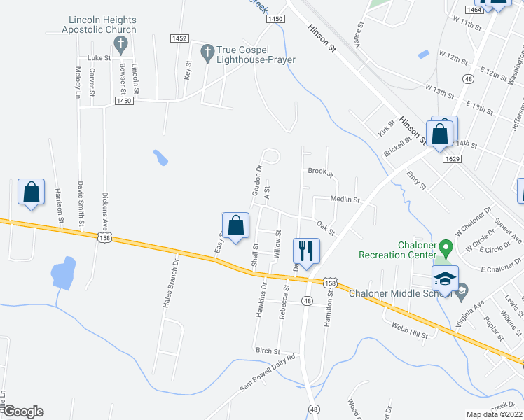 map of restaurants, bars, coffee shops, grocery stores, and more near 598 Oak Street in Roanoke Rapids