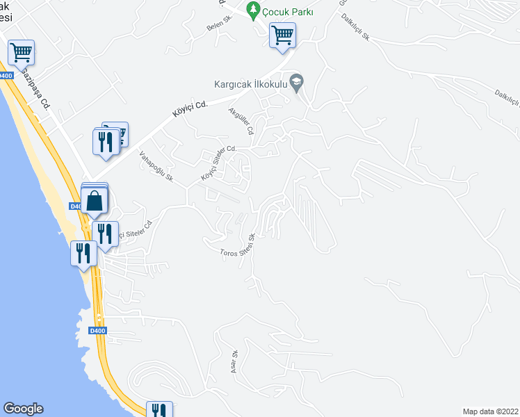 map of restaurants, bars, coffee shops, grocery stores, and more near Toros Sitesi Sokak in Alanya