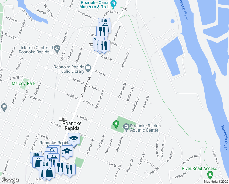 map of restaurants, bars, coffee shops, grocery stores, and more near 332 Jefferson Street in Roanoke Rapids