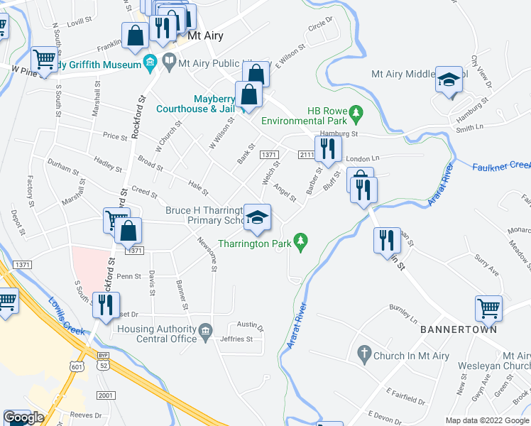 map of restaurants, bars, coffee shops, grocery stores, and more near 922 Spring Street in Mount Airy