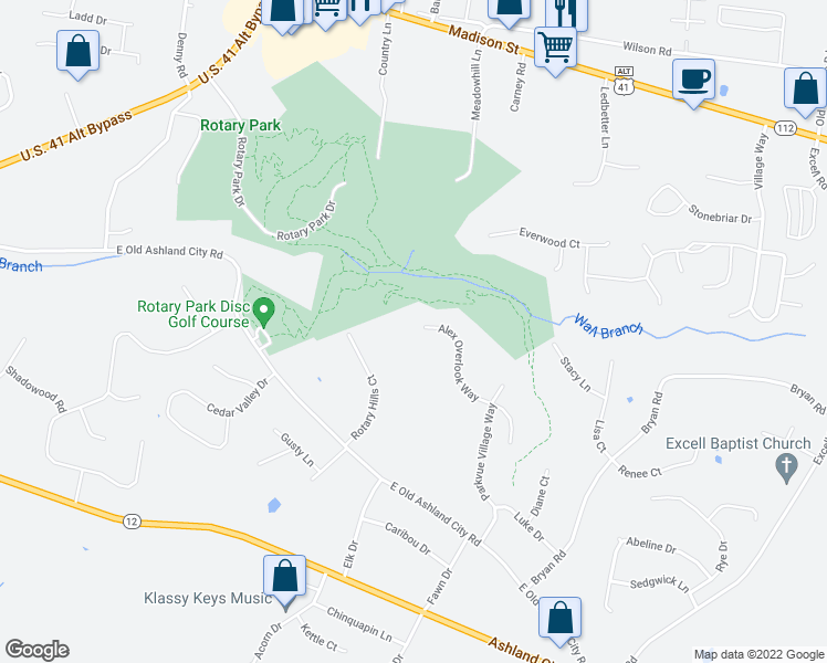 map of restaurants, bars, coffee shops, grocery stores, and more near 2562 Alex Overlook Way in Clarksville