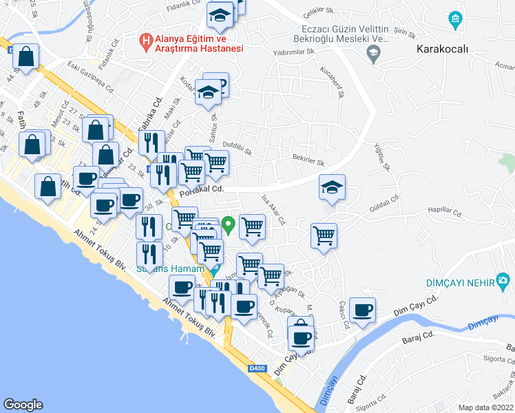 map of restaurants, bars, coffee shops, grocery stores, and more near 9 Koca Osman Sokak in Alanya
