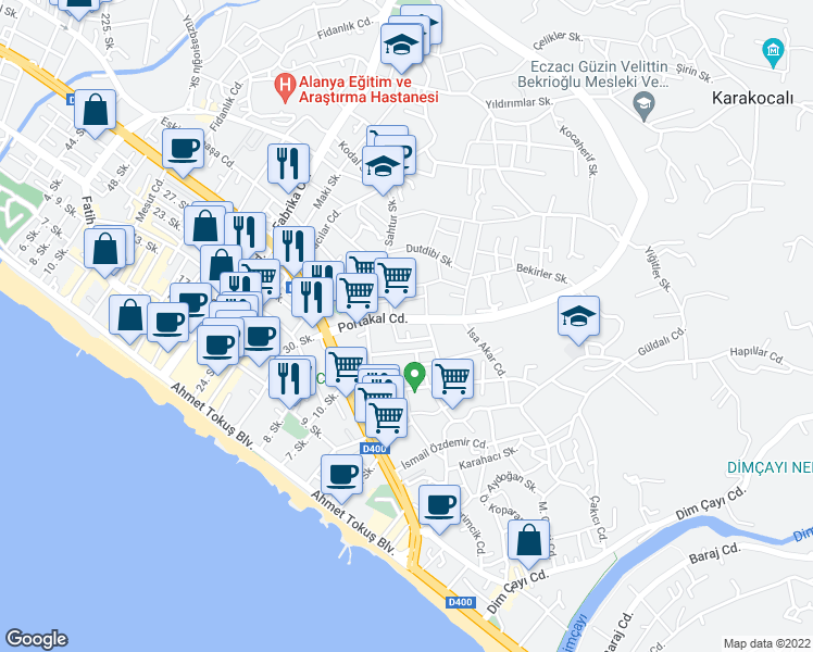 map of restaurants, bars, coffee shops, grocery stores, and more near 7 Portakal Caddesi in Alanya