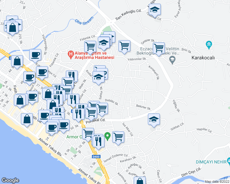 map of restaurants, bars, coffee shops, grocery stores, and more near Bedenliler Sokak in Alanya