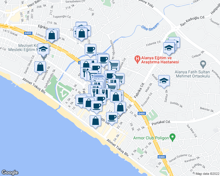 map of restaurants, bars, coffee shops, grocery stores, and more near 9 Çağ Kent Sitesi İçi Yolu in Alanya