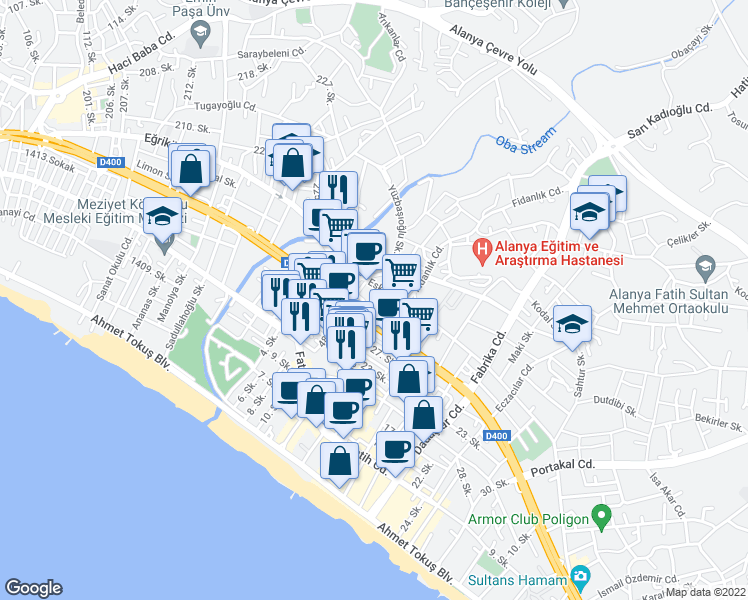 map of restaurants, bars, coffee shops, grocery stores, and more near Eğriköprü Caddesi in Alanya