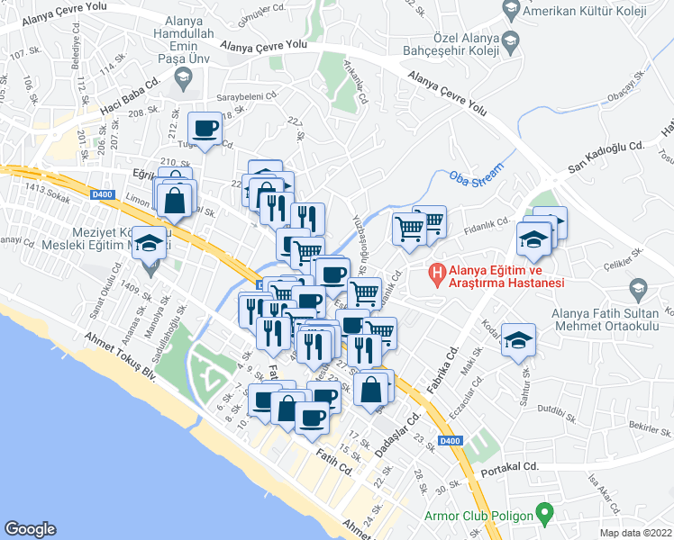 map of restaurants, bars, coffee shops, grocery stores, and more near Yüzbaşıoğlu Sokak in Alanya