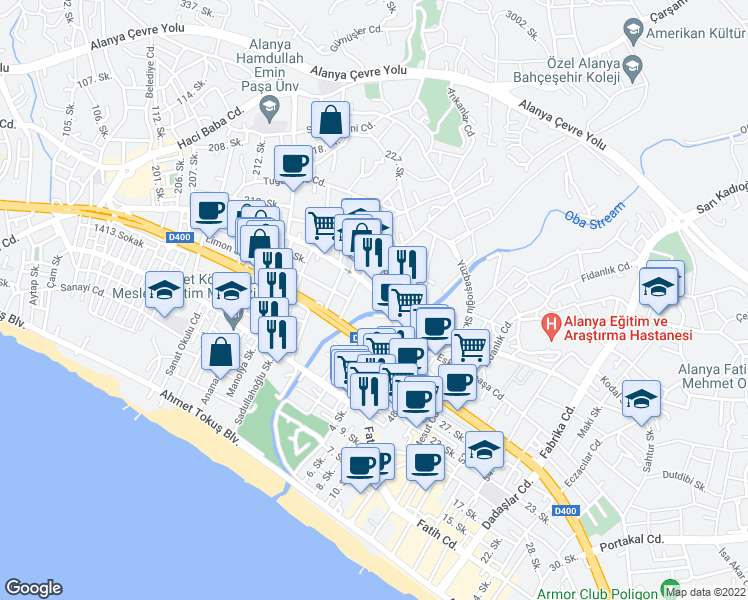 map of restaurants, bars, coffee shops, grocery stores, and more near 17 Eğriköprü Caddesi in Alanya