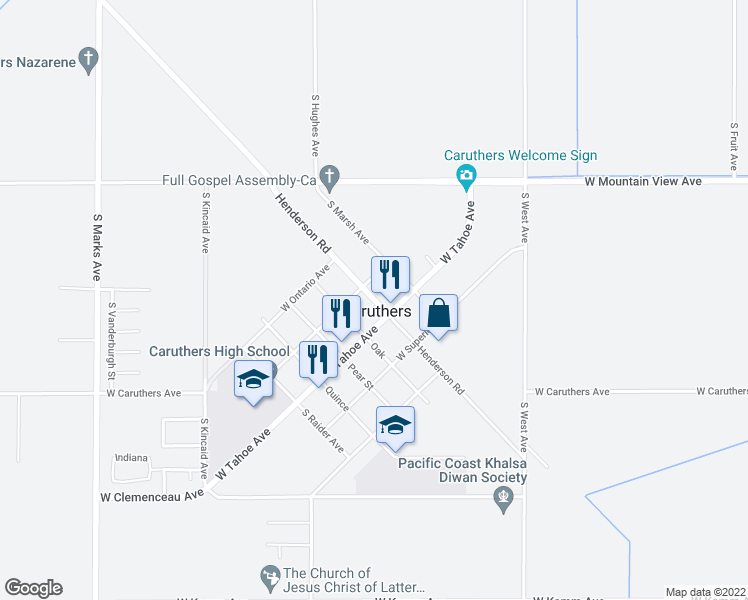 map of restaurants, bars, coffee shops, grocery stores, and more near 13320 Henderson Road in Caruthers