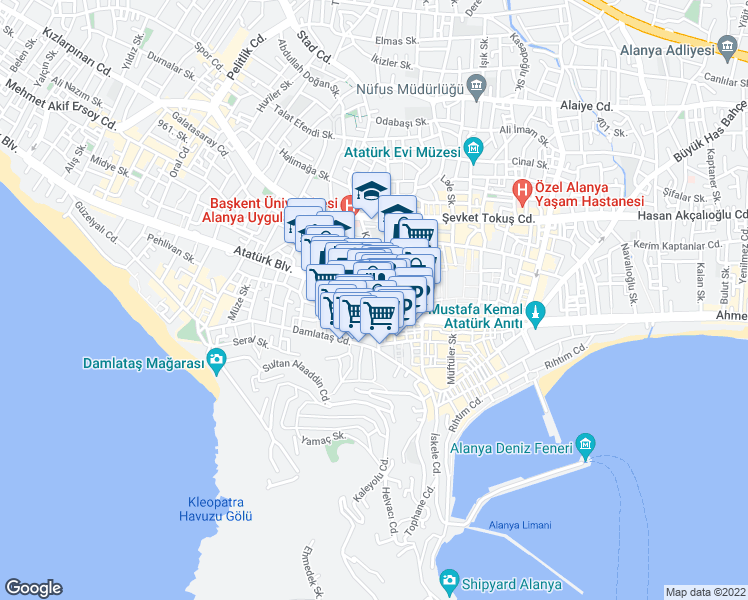 map of restaurants, bars, coffee shops, grocery stores, and more near in Alanya