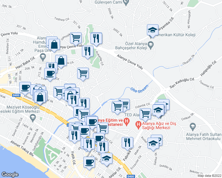 map of restaurants, bars, coffee shops, grocery stores, and more near Kıvırasıllılar Sokak in Alanya