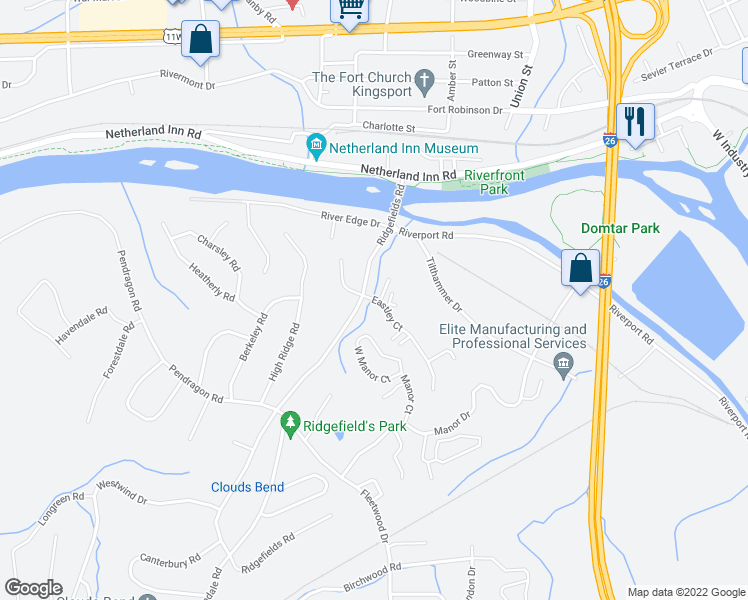 map of restaurants, bars, coffee shops, grocery stores, and more near 404 Eastley Court in Kingsport