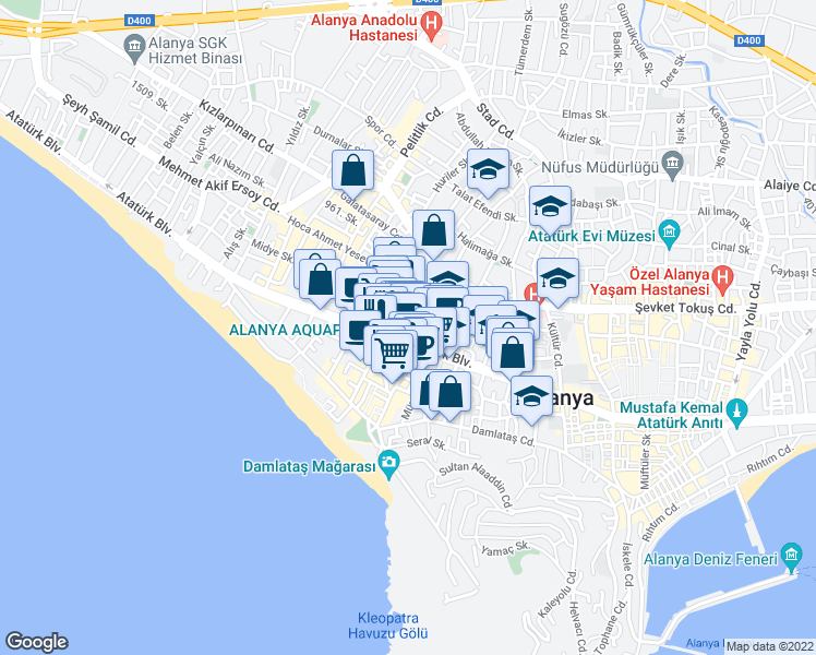 map of restaurants, bars, coffee shops, grocery stores, and more near 19 A İsmet Hilmi Balcı Caddesi in Alanya