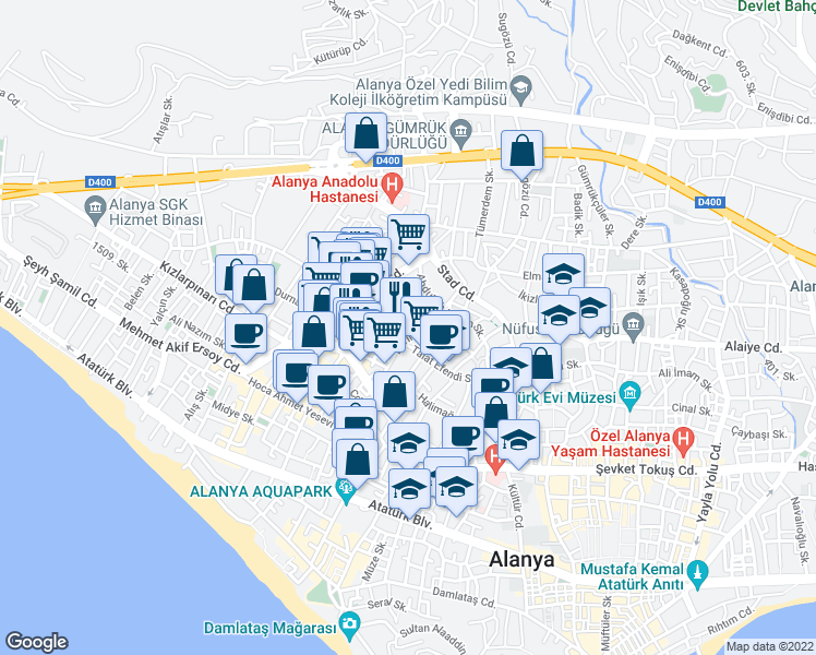 map of restaurants, bars, coffee shops, grocery stores, and more near 2-14 Pelitlik Sokak in Alanya