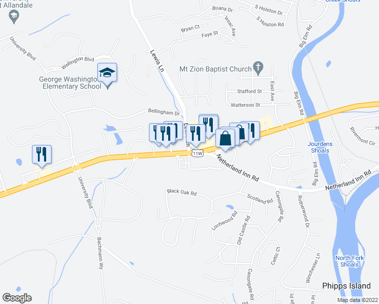 map of restaurants, bars, coffee shops, grocery stores, and more near Lee Hwy in Kingsport