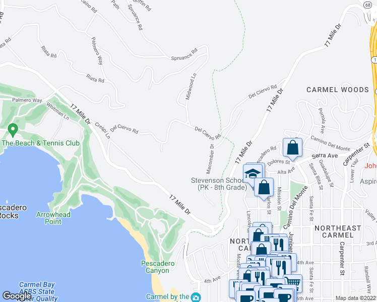 map of restaurants, bars, coffee shops, grocery stores, and more near 3163 Del Ciervo Road in Del Monte Forest