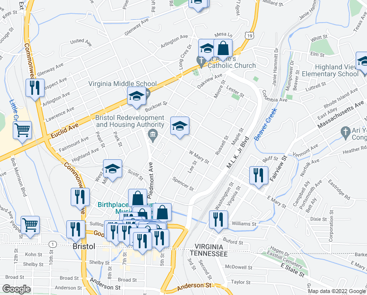 map of restaurants, bars, coffee shops, grocery stores, and more near 500-598 Moore Street in Bristol