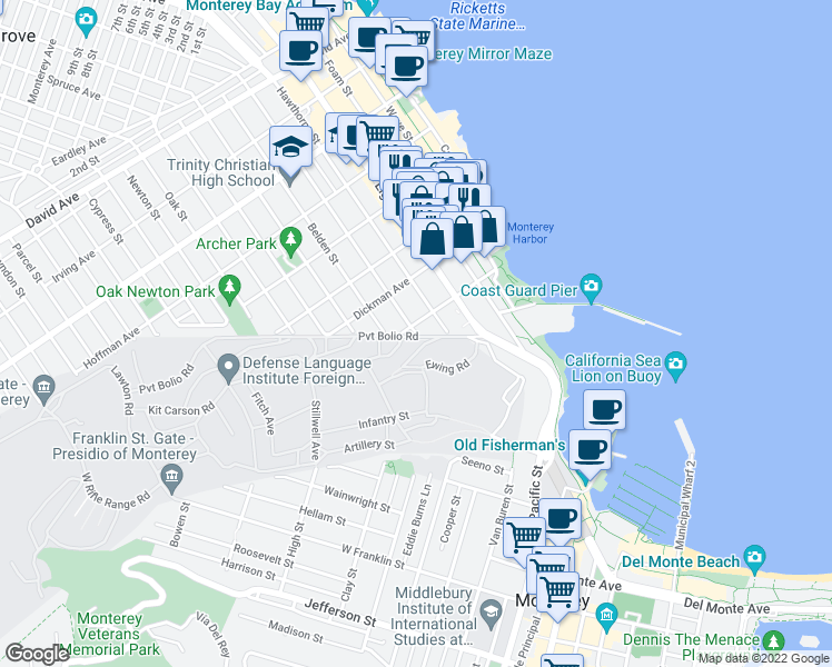 map of restaurants, bars, coffee shops, grocery stores, and more near 3 Laine St in Monterey