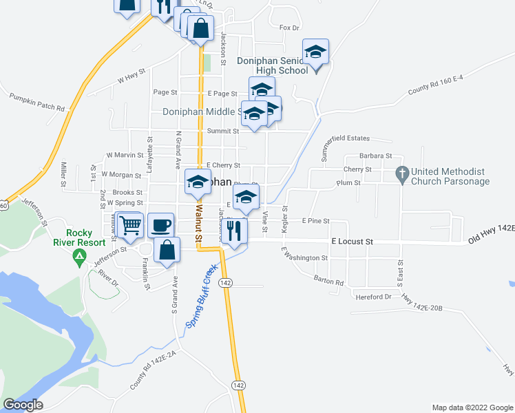 map of restaurants, bars, coffee shops, grocery stores, and more near 517-599 East Spring Street in Doniphan