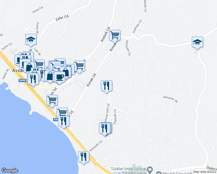 map of restaurants, bars, coffee shops, grocery stores, and more near Mehmet Akif Caddesi in Alanya