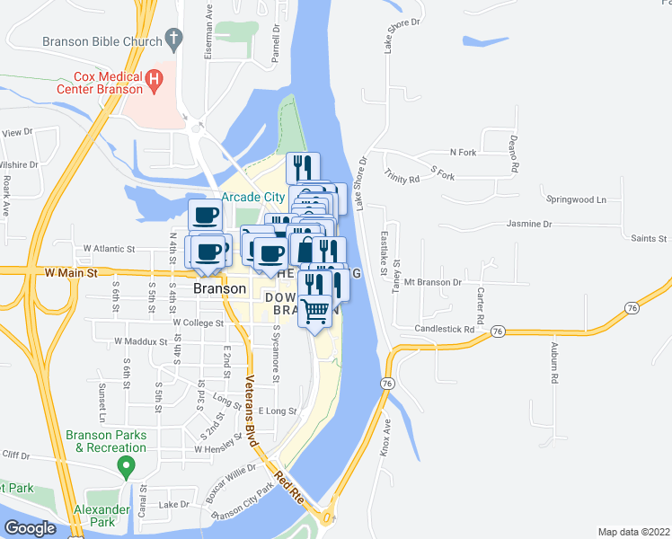 map of restaurants, bars, coffee shops, grocery stores, and more near 1500 Branson Hills Parkway in Branson