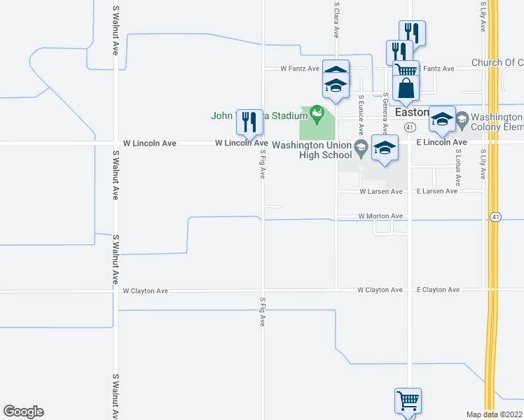 map of restaurants, bars, coffee shops, grocery stores, and more near 6185 South Fig Avenue in Fresno