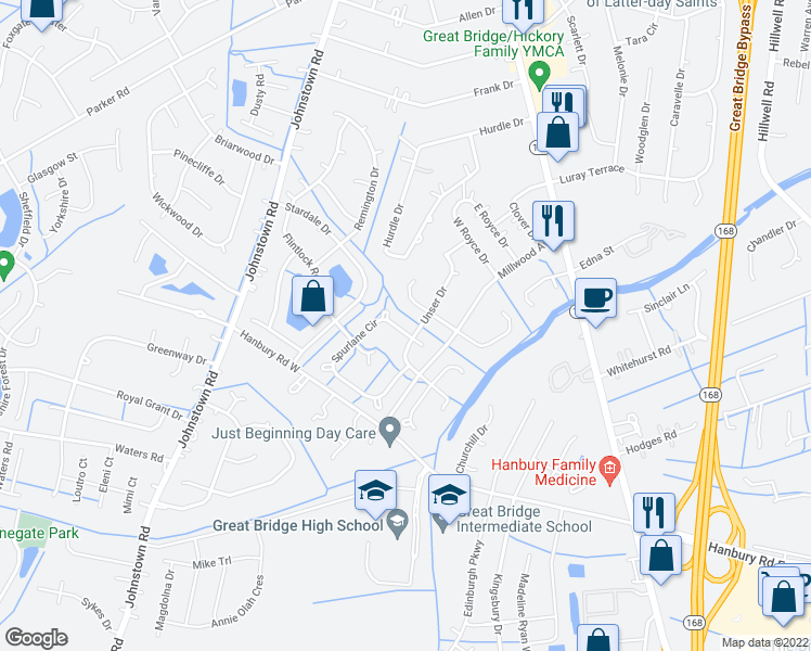 map of restaurants, bars, coffee shops, grocery stores, and more near 312 Spurlane Circle in Chesapeake