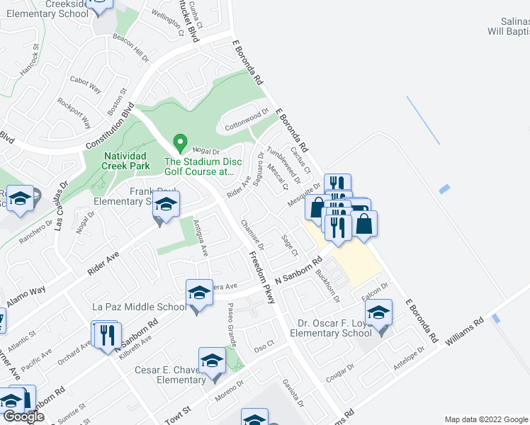 map of restaurants, bars, coffee shops, grocery stores, and more near 1433 Tamarak Way in Salinas
