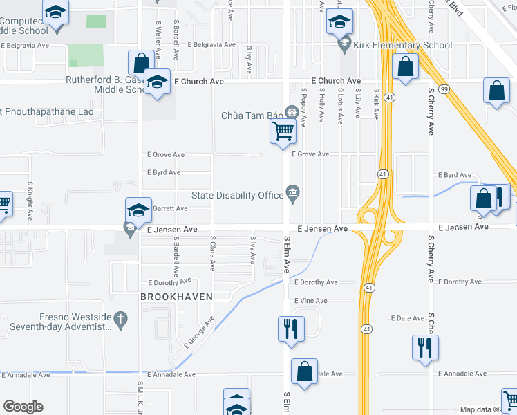map of restaurants, bars, coffee shops, grocery stores, and more near 1515 East Jensen Avenue in Fresno