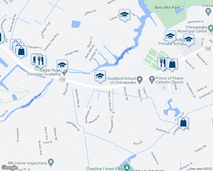 map of restaurants, bars, coffee shops, grocery stores, and more near 705 Basnight Court in Chesapeake