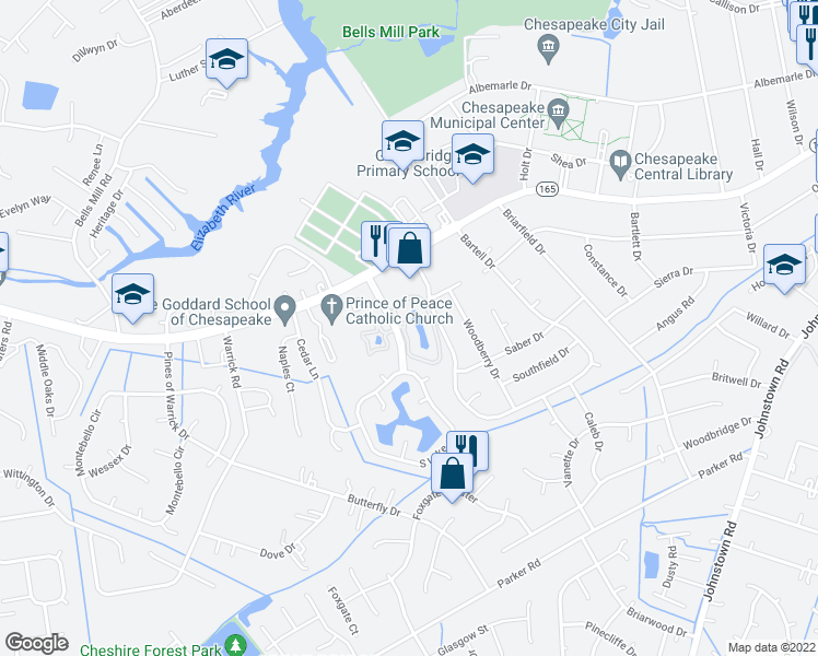 map of restaurants, bars, coffee shops, grocery stores, and more near 543 East Lake Circle in Chesapeake
