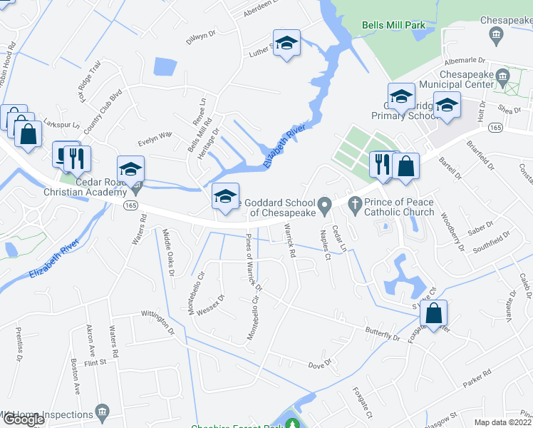 map of restaurants, bars, coffee shops, grocery stores, and more near 213 Cedar Creek Terrace in Chesapeake