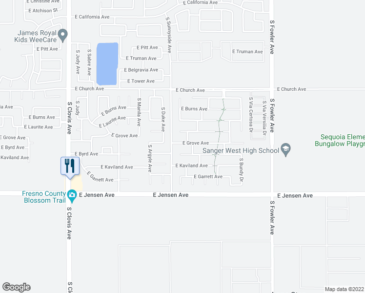 map of restaurants, bars, coffee shops, grocery stores, and more near 5820 East Grove Avenue in Fresno