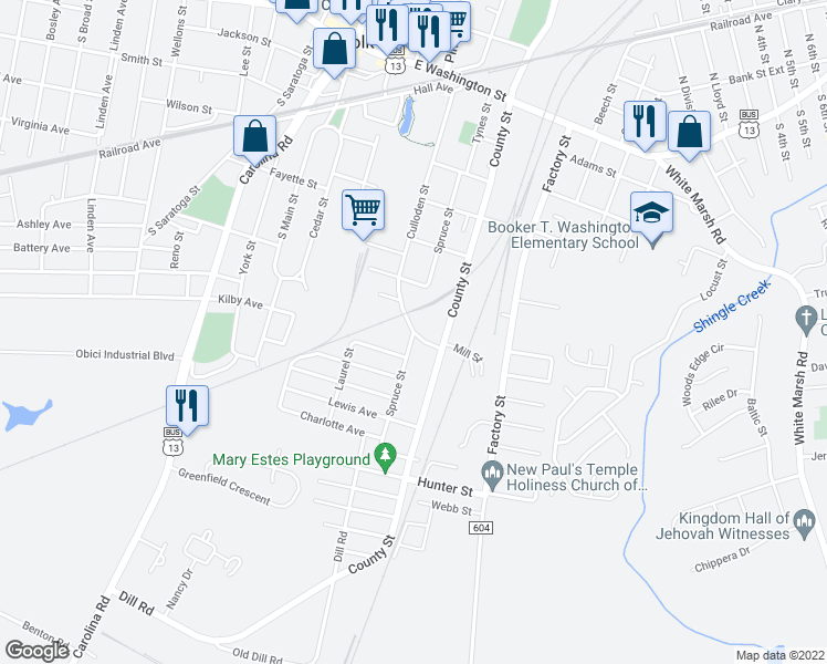 map of restaurants, bars, coffee shops, grocery stores, and more near Spruce Street in Suffolk
