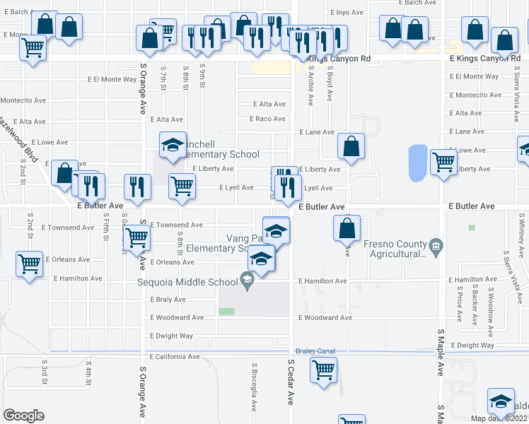 map of restaurants, bars, coffee shops, grocery stores, and more near 4070 East Butler Avenue in Fresno