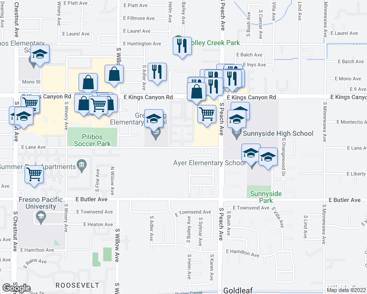 map of restaurants, bars, coffee shops, grocery stores, and more near 5145 East Lane Avenue in Fresno