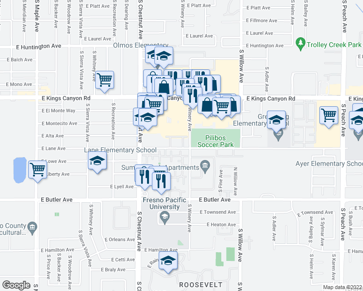 map of restaurants, bars, coffee shops, grocery stores, and more near 4893 East Lane Avenue in Fresno