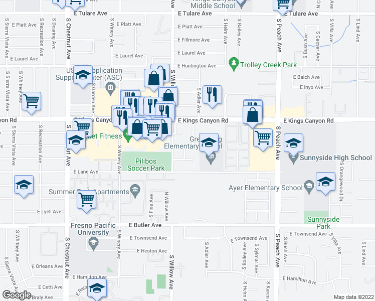 map of restaurants, bars, coffee shops, grocery stores, and more near 5032 East Montecito Avenue in Fresno