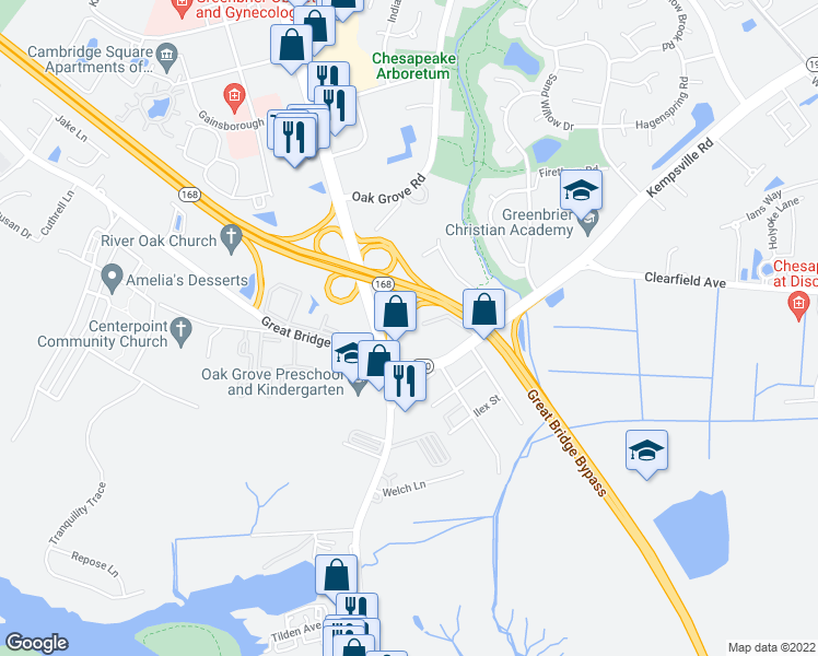 map of restaurants, bars, coffee shops, grocery stores, and more near 137 Kempsville Road in Chesapeake