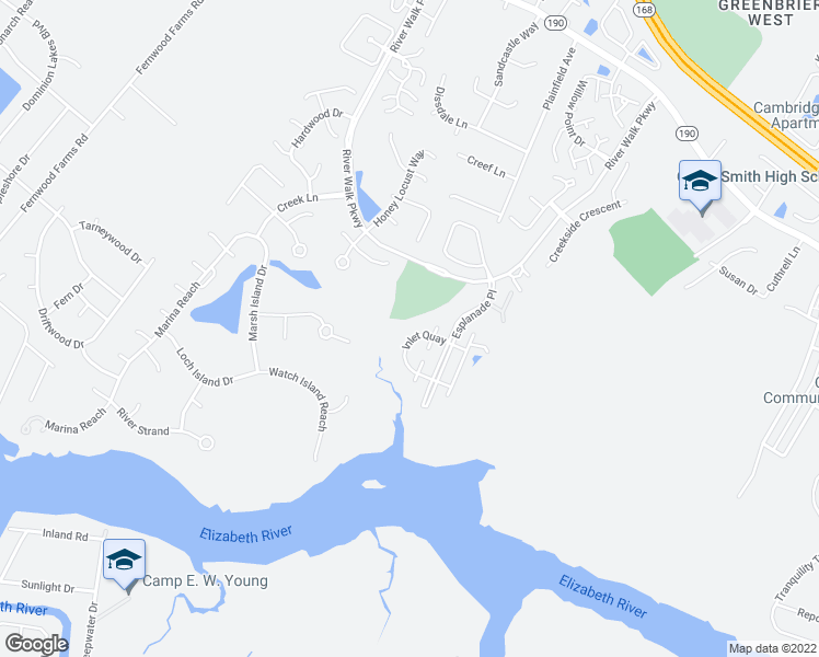 map of restaurants, bars, coffee shops, grocery stores, and more near 708 Inlet Quay in Chesapeake