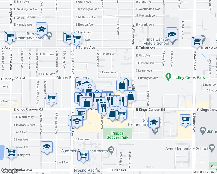 map of restaurants, bars, coffee shops, grocery stores, and more near 4942 East Balch Avenue in Fresno